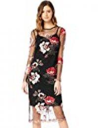 Marca Amazon - TRUTH & FABLE Vestido Mujer de Encaje de Flores Mujer, Multicolor (Multicoloured), 34, Label: XXS