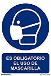Normaluz RD26626 - Señal Adhesiva Es Obligatorio El Uso de Mascarilla Adhesivo de Vinilo 10x15 cm