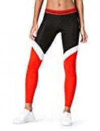 Activewear Leggings con Paneles en Contraste de Deporte Mujer , Negro (Black/white/sport Red), 42 (Talla del fabricante: Large)