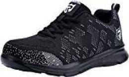 Zapatos de Seguridad con Punta de Acero, Ligeros y Transpirables Zapatos de Entrenamiento prevención de pinchazos LM-112 (40.5 EU,Blanco y Negro)