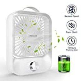 MECO Ventilador de Mesa Silencioso Ventilador USB/Recargable Potente Portátil Oficina Ventilador Ajustable Ventilador Sobremesa Refresco Hogar,Casa Regalo 3.5-10h Funcionamiento, 2400mAh Blanco