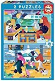 Educa- Aeropuerto y Tren 2 Puzzles Infantiles de 48 Piezas, a Partir de 4 años (18604)