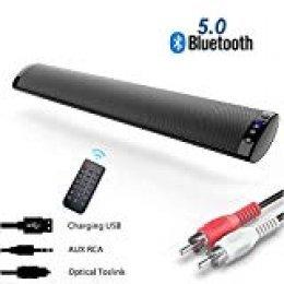 Barra de Sonido, Nueva Bluetooth 5.0, Profesional Sonido Envolvente Altavoz para TV/Home Cinema, Apoyo RCA/AUX/óptico/USB/TF Tarjeta, Compatible para TV, Moviles, Tableta,Montable en la Pared