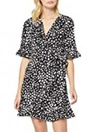 Marca Amazon - find. Vestido de Flores con Volantes Mujer, Negro (Black Spot), 44, Label: XL
