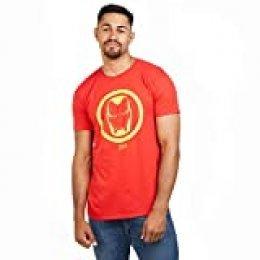 Marvel Iron Man Emblem-Mens T Shirt Med Camiseta, Rojo (Red Red), Medium (Talla del Fabricante: Medium) para Hombre