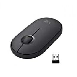 Logitech Pebble Ratón Inalámbrico, Bluetooth o 2.4 GHz con Receptor Unifying, Ratón con Clic Silencioso para Portátil/Notebook/PC/Mac/iPad OS, Negro