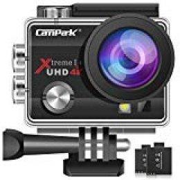 Campark® 4k WiFi Ultra HD Resistente al Agua Cámara de Acción Deportiva Temporizador y Grabación en Cámara Lenta Cámara de Casco Amplio Ángulo de Visión 170 DVR Videocámara