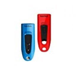 SanDisk Memoria Flash USB Ultra de 32 GB con USB 3.0 y hasta 100 MB/s de Lectura - Paquete de 2 Unidades,Rojo y Azul