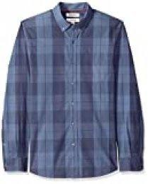Goodthreads – Camisa de popelín a cuadros de manga larga de corte entallado y cuello abotonado para hombre, Azul (Indigo Large Plaid Lar), US L (EU L)