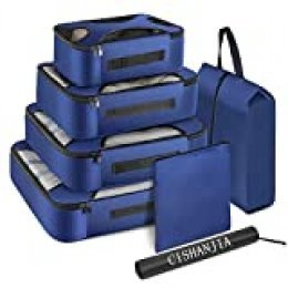 CISHANJIA Organizador de Maletas, Set de 7 Organizador de Equipaje para Maleta con Bolsa para Maquillaje, Bolsa para la Colada y Bolsa para Zapatos (Azul Marino)