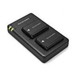 NP-FW50 Cargador RAVPower para Sony de 1100mAh con Batería Recargable (2 Baterías del Reemplazo, Entrada USB 2,1A, 100% Compatible con El Original)