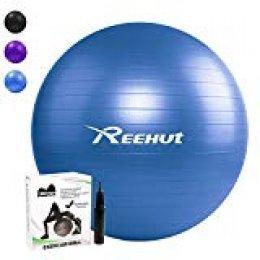 REEHUT Pelota de Ejercicio Anti-Burst para Yoga, Equilibrio, Fitness, Entrenamiento, incluidos Bomba y Manual de Usuario - Azul 65cm