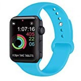 AK Compatible con para Apple Watch Correa 42mm 38mm 44mm 40mm, Silicona Blanda Deporte de Reemplazo Correas Compatible con para iWatch Series 4, Series 3, Series 2, Series 1 (09 Teal, 42/44mm S/M)