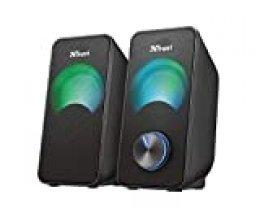 Trust Arys - Juego de 2 Altavoces portátiles (LED RGB, 2.0 Canales, 12 W, USB) Negro