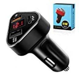 Caricabatteria da auto USB veloce - [aggiornato] 3 porte caricabatteria da auto A uscita con monitor LED di tensione per Samsung, altri smartphone iOS e Android