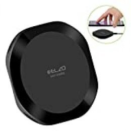 Elzo Cargador Inalámbrico Rápido iPhone X Qi Cargador 10W Carga Rápida y 5W Carga Estándar Fast Wireless Charger para Samsung Galaxy S9 Plus S9 Note8, iPhone 8 Plus / 8, etc (Negro)
