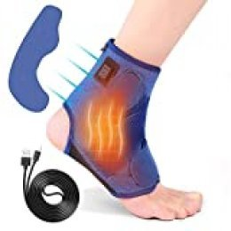 Tobillera calentada para mujeres y hombres, terapia de calor eléctrica para tobillo, esguince, lesiones, tendinitis de hinchazón para articulación de pie izquierdo (Azul)