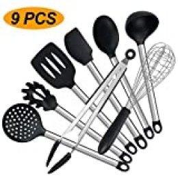 Juego de utensilios de cocina, juego de 9 piezas de utensilios de cocina, silicona antiadherente, resistente al calor, con mango de acero inoxidable (sin BPA)