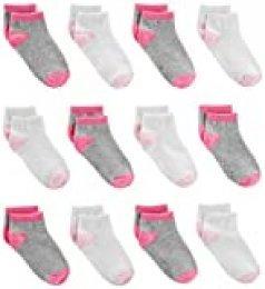 Simple Joys by Carter's calcetines para bebé y niñas pequeñas con suela antideslizante, paquete de 12 ,Rosa / gris/ multicolor ,2T/3T