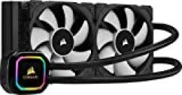 Corsair iCUE H100i RGB Pro XT Refrigerador Líquido para CPU, Radiador de 240 mm, Dos Ventiladores Corsair ML PWM de 120 mm, 400-2400 RPM, Cabezal de Bombeo RGB Dinámico y Multizona, Color Negro