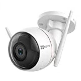 EZVIZ Cámara de vigilancia Exterior,cámara IP WiFi cámara Bala de Seguridad IP66,Visión Nocturna 30m Luz,protección de Sirena,Compatible con Alexa,CTQ3W (720p)