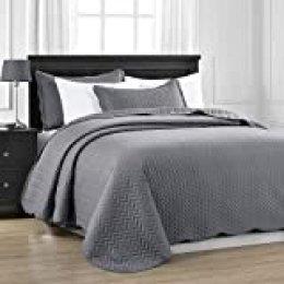 MOONLIGHT20015 Colcha acolchada para cama King 240 x 260 cm + 2 fundas de almohada para decoración de dormitorio, colcha reversible en relieve con acabado mate