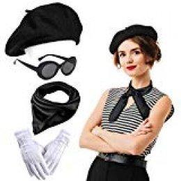 SPECOOL Francesa Disfraz de Mimo Accesorios de Disfraces Franceses Mujer Sombrero de Boina Bufanda de Seda Gasa Guantes de Satén Blanco Gafas de Sol Ovales Retro