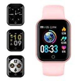 Smartwatch, KUNGIX Reloj Inteligente Impermeable IP68 Pulsera de Actividad Inteligente con Monitor de Sueño Pulsómetros Podómetro Contador de Caloría, para Hombre Mujer niños (Rosa)