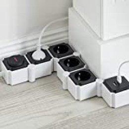 UCOMEN Regleta Enchufes 4 Tomas 2 Puertos USB, Power Strip, Regleta Enchufes Múltiples con Protección Sobretensión y Sobrecarga, 3680W, Negro