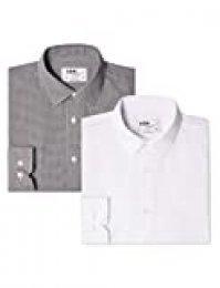 Marca Amazon - find. Camisa de Cuadros Vichy Slim Fit Hombre, Pack de 2, Mehrfarbig (Gingham Black / White), 42 cm, Label:XL