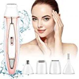 HALOVIE Depiladora Mujer Afeitadora Eléctrica 5 en 1 Maquina Depilar Facial Recortador Inalámbrica USB Recargable Impermeable sin Dolor para Cara, Cejas, Piernas, Nariz, Axila, Bikini