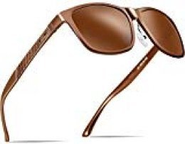 ATTCL Hombre Gafas de sol Polarizado Al-Mg Metal Super Ligero Marco 18587brown