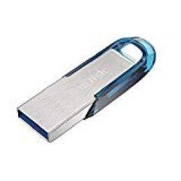 Memoria Flash USB SanDisk Ultra Flair de 32GB con USB 3.0 y hasta 150MB/s, Color Azul Tropical