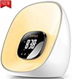 Despertador con luz LED con simulación de amanecer, función de repetición, 10 colores, 8 tonos de alarma, radio FM, ideal para casa, adecuado para adultos y niños