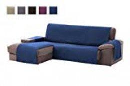 textil-home Funda Cubre Sofá Chaise Longue Adele, Protector para Sofás Acolchado Brazo Izquierdo. Tamaño -240cm. Color Azul (Visto DE Frente)