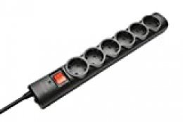 Trust 21059 - Regleta de Seis Tomas con protección de sobretensiones, Negro