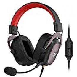 Redragon H510 ZEUS - Cascos headset cómodos para Gaming - Audio de Alta Definición + Potentes Bajos - Auriculares de Diadema con Micrófono para Videojuegos PC, Móvil, PS4 - Sonido 7.1 + Software