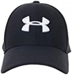Under Armour UA Blitzing 3.0 Gorra para hombre, gorra con visera transpirable, cómoda gorra deportiva para hombre con banda de transpiración, Black/Black/White (001), M/L