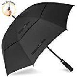 ZOMAKE Paraguas Grande Antiviento, Automático Paraguas de Golf con Doble Cubierta para Mujer Hombre (Negro)