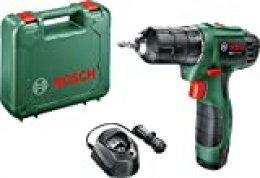 Bosch EasyDrill 1200 - Atornillador con batería de litio 12V 1,5 Ah en maletín (con punta doble, luz de trabajo, dos velocidades 11/20 Nm y par giro 15+1)