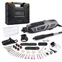 TACKLIFE Amoladora Eléctrica, Multiherramienta 200W, Herramienta Rotativa de 6 Velocidad Variable (10.000-40.000 rmp), Ideal para Cortado, Grabado, Pulido, Lijado, etc, RTD36AC