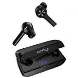 Auriculares Inalámbricos Bluetooth HolyHigh Auriculares Bluetooth5.0 Batería【LED 100% -0】 6H Autonomía Extendida Auto-On/Off Auto-Emparejamiento Estéreo Impermeables con Micrófono