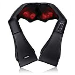 Naipo Masajeador eléctrico de hombros y cuello con función de calor, masaje de rotación 3D, velocidad ajustable para la casa, la oficina o el coche