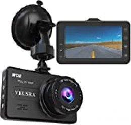 Dashcam Cámara Coche, VKUSRA Cámara de vigilancia para Coche con WDR G-Sensor, 1080P Full HD 170 Ángulo, Detección de Movimiento, Grabación en Bucle, Visión Nocturna, Monitor de Estacionamiento