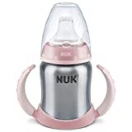 NUK 10255253 - Biberón con asas, botella de acero inoxidable, 125 ml, color: rosa