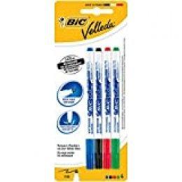 BIC Velleda - Estuche de 4 marcadores de pizarra blanca fino, color negro, azul, roja y verde