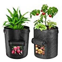 Bolsas de cultivo de patata, paquete de 2 bolsas de cultivo de verduras de 7 galones, contenedor con ventana y asas de correa de gancho y bucle – bolsas no tejidas para plantas de jardín