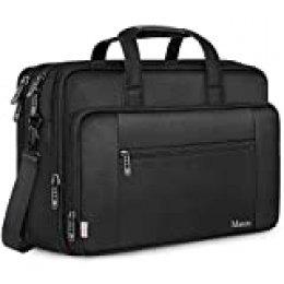 Mancro - Bolso para ordenador portátil, impermeable, para hombres, escuela, viajes, color negro negro Negro  18 Zoll