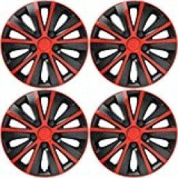 VERSACO RAPIDERB16 Tapacubos de Rueda, Rojo/Negro, 16 Pulgadas, Set de 4