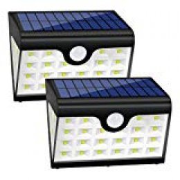 Foco Solar Exterior Luz de Solar LED con 28 LED, 300 Lúmenes, Funciona de 8-10 Horas,Lámparas Solares con Sensor de Movimiento & Gran Angular de Iluminación de 280ºpara Caminos, Escaleras, Entradas